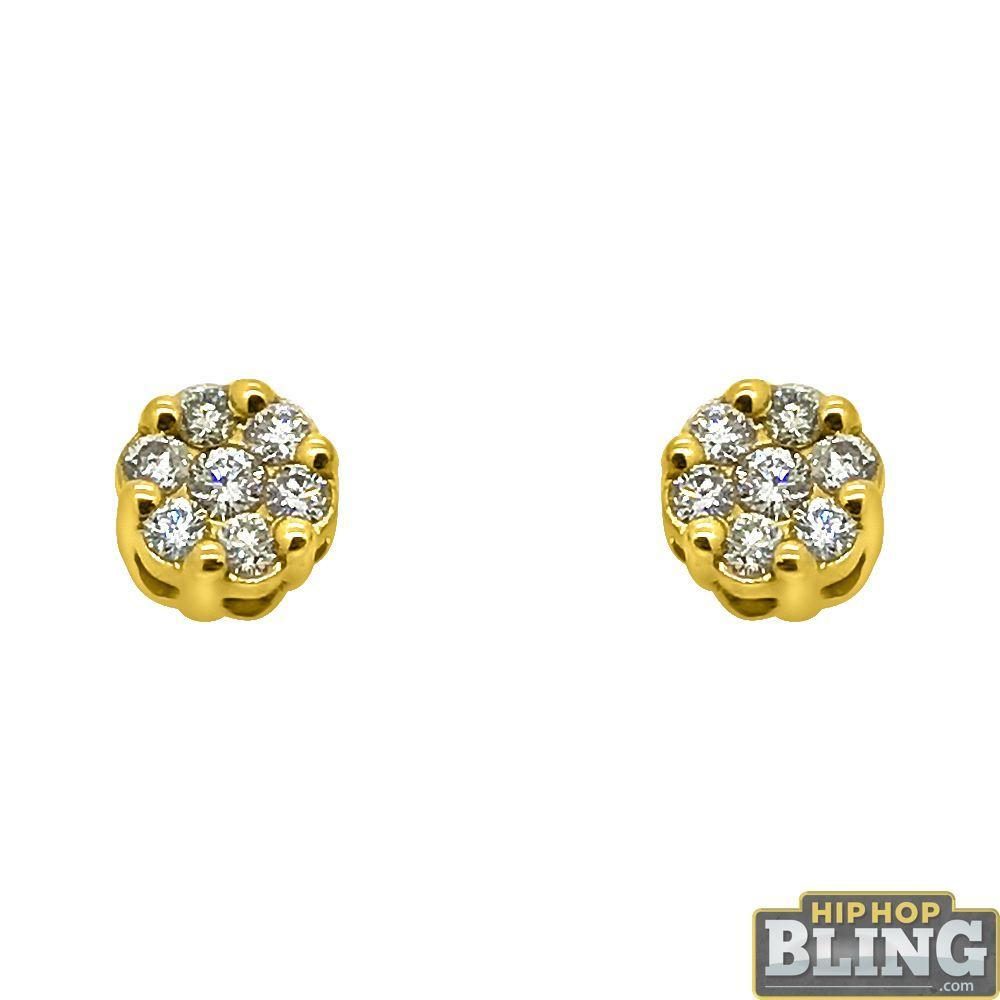 14K Gold .30cttw Diamond Cluster Bling Earrings