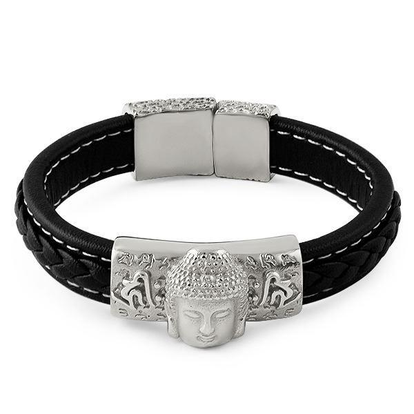 Buddha Black Leather Stainless Steel Bracelet