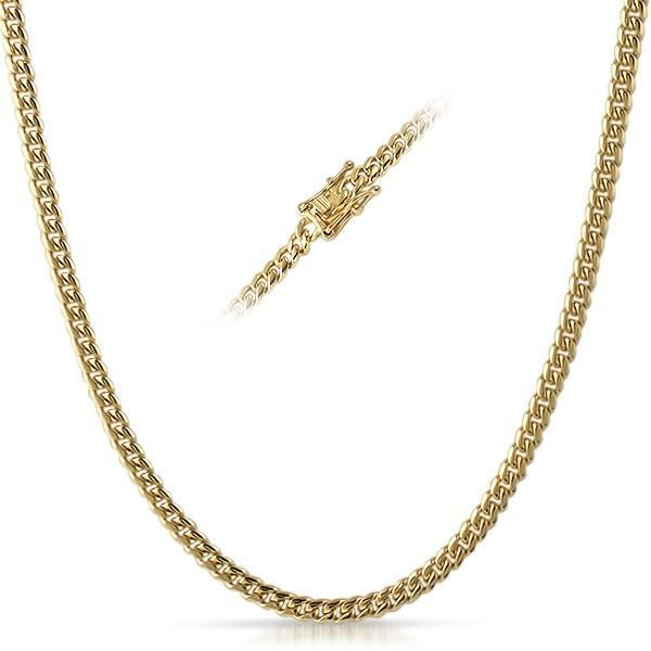 4MM Miami Cuban Chain IP Gold Steel Triple Lock