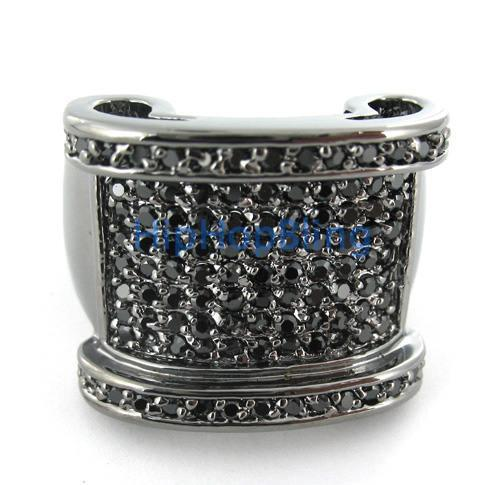 Ice Rail Bling Bling Black on Black CZ Mens Ring