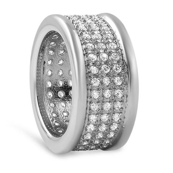 360 Micro Pave CZ Bling Bling Stainless Steel Ring