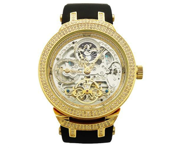 Golden Skeleton Watch Joe Rodeo 2.20ct Diamonds