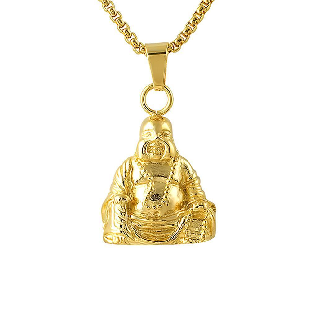 Sitting Gold Buddha Pendant Stainless Steel