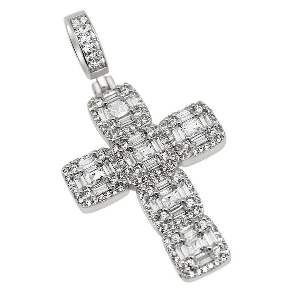 .925 Silver Asscher Cut Cluster CZ Rhodium Cross