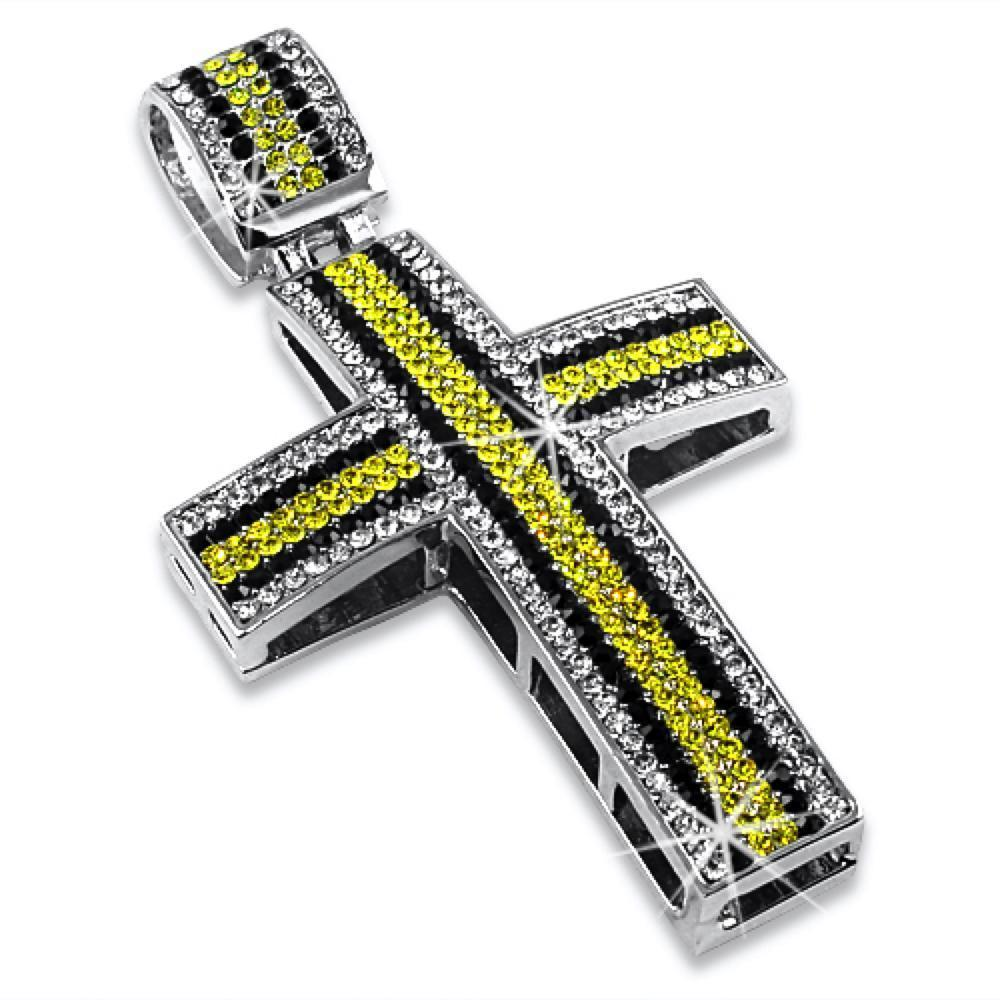 Exotic Striped White Black  Canary Cross Pendant