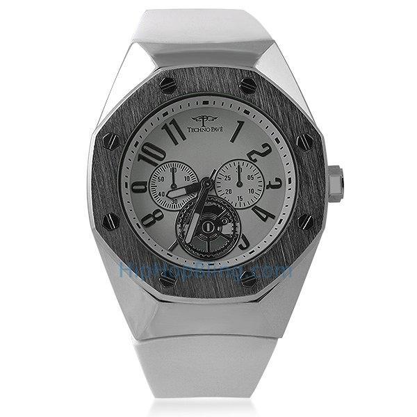 Exotic Octagon Watch Silver White Band