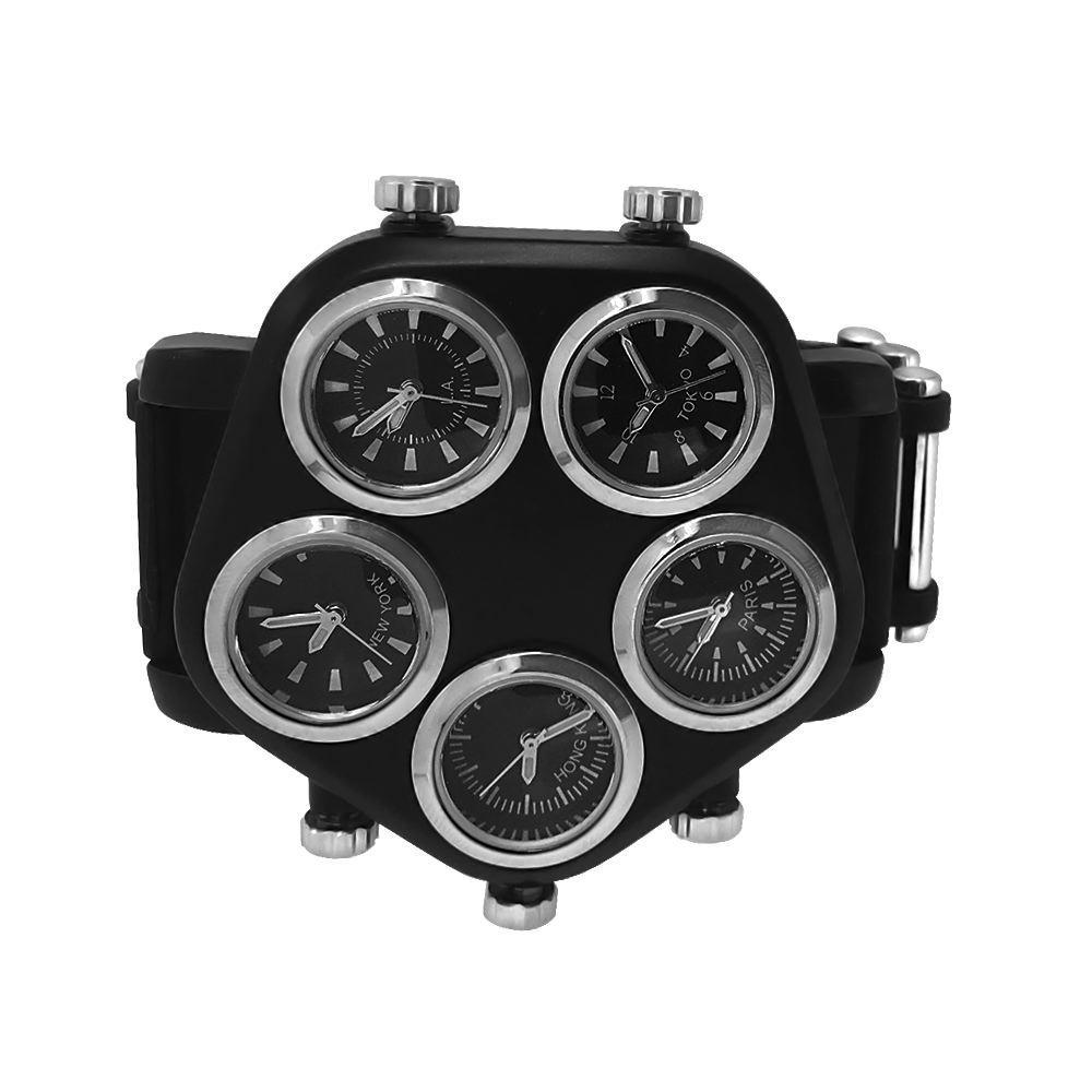 5 Timezone New Style Black Watch Silver Rings