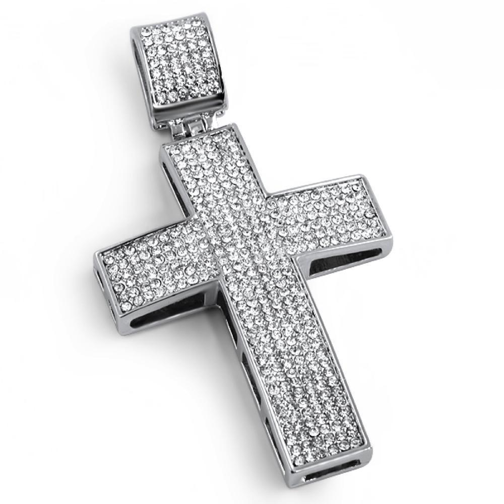 Blizzard Cross Rhodium Pendant