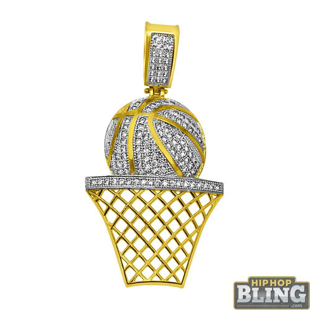 CZ Large Bling Bling Basketball Rim Bling Pendant 10K Gold