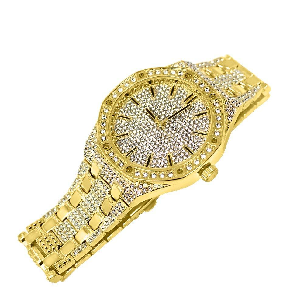 Gold Bling Bling Octagon Watch Icey