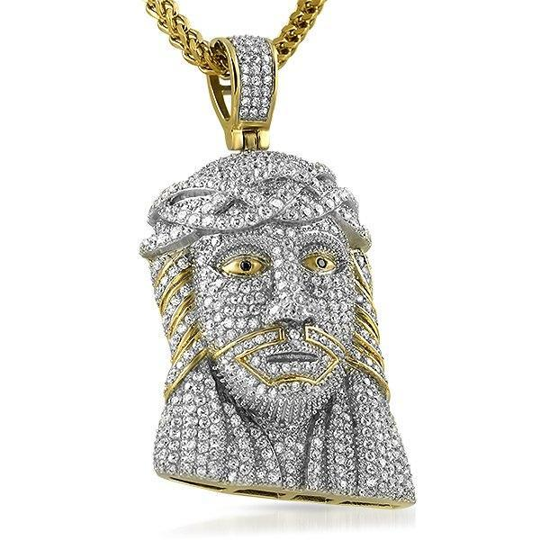 3D Gold Stainless Steel Full Bling Jesus Piece Pendant