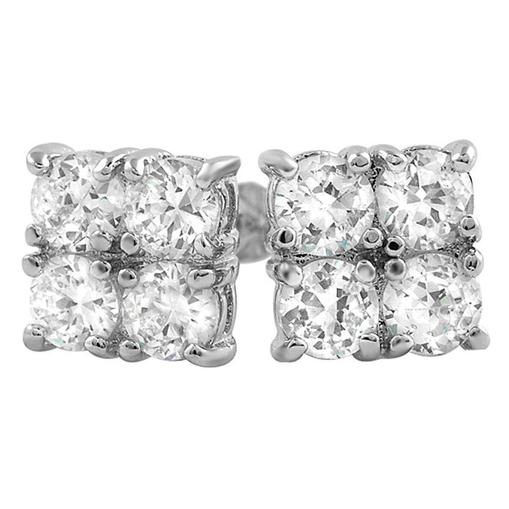 4 Stone Box CZ Diamond Bling Bling Earrings