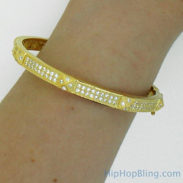 Gold Pyramid 2 Row Bangle CZ .925 Silver