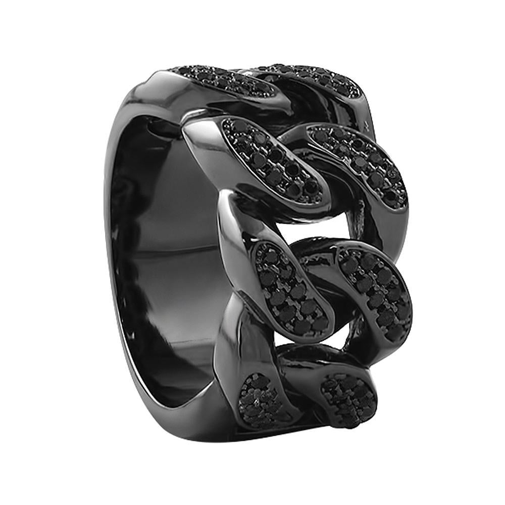 Black on Black Cuban Iced Out Links Ring