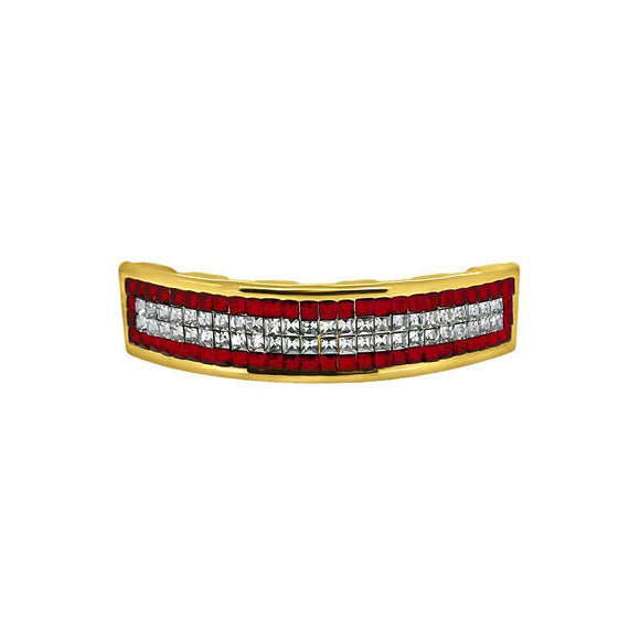 Invisible Setting Red Border Gold Custom Grillz
