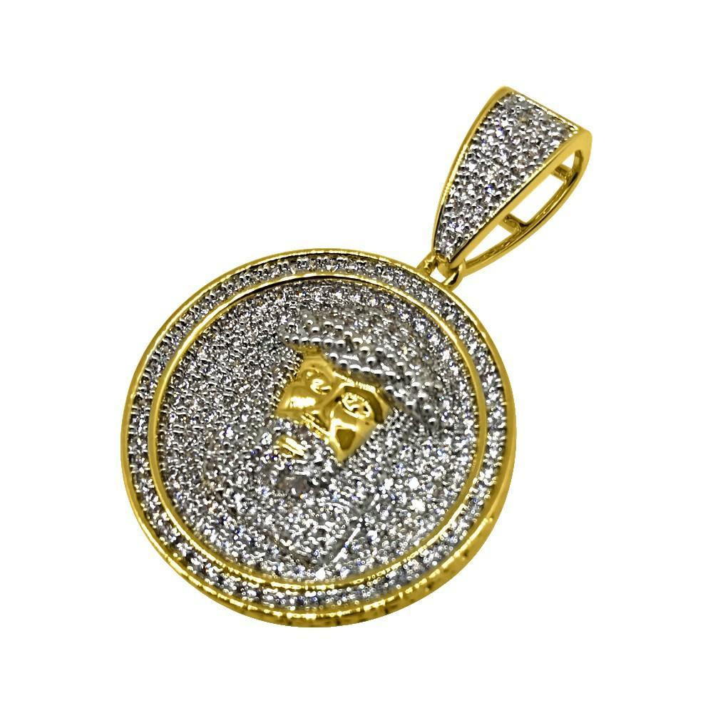 .925 Silver Bling Bling Mini Gold Jesus CZ Circle Pendant