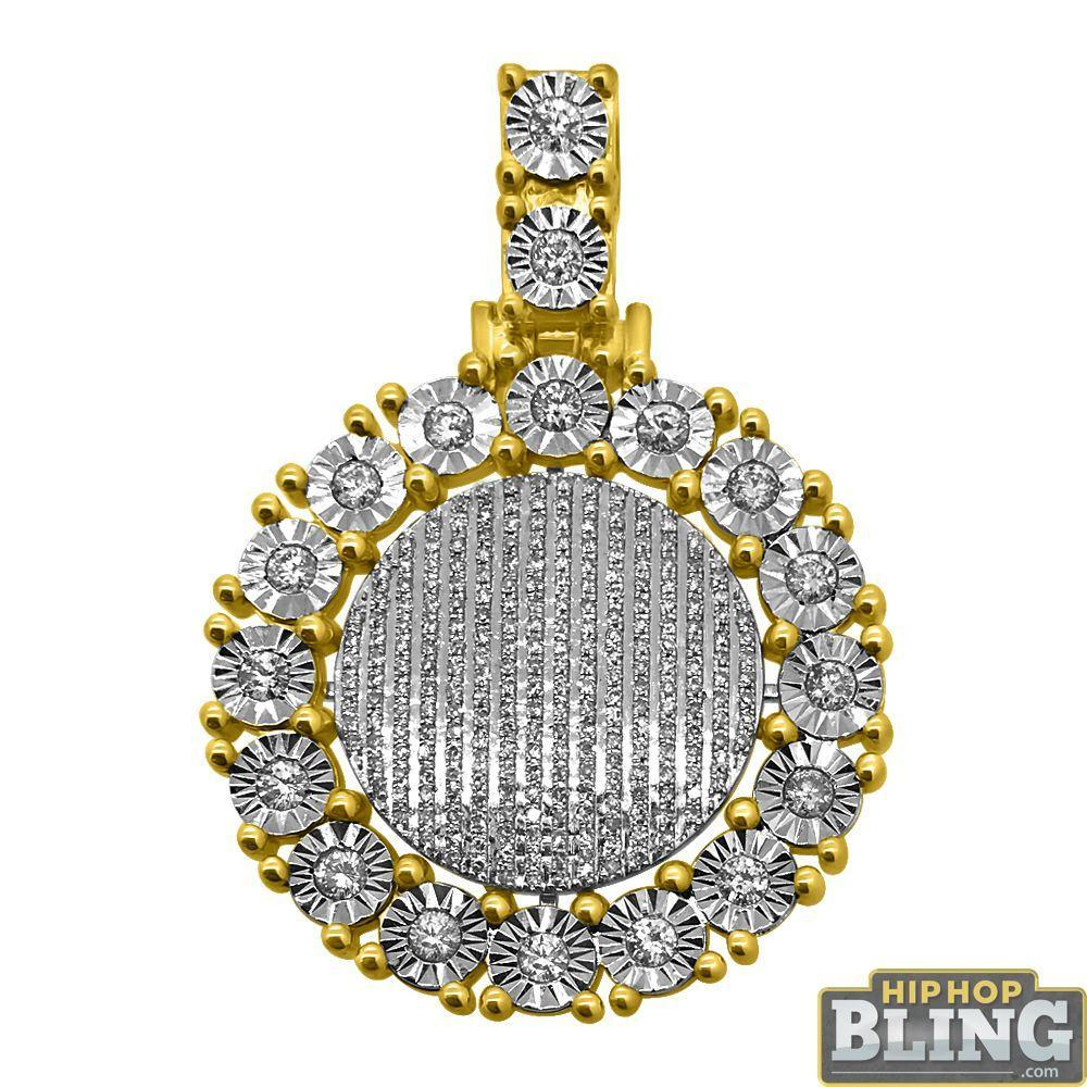 10K Gold Cluster Medallion Fanook 1.50cttw Diamonds