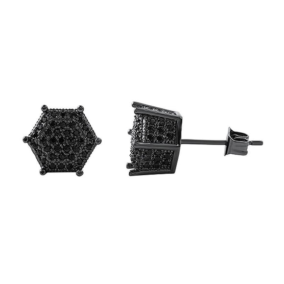 3D Pentagon Black CZ Hip Hop Earrings