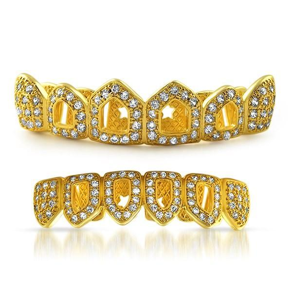 Gold Grillz 4 Open Tooth CZ Bling Bling Set