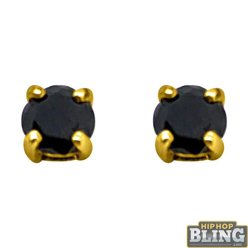 .50 Carat Black Diamond Stud Earrings Gold .925