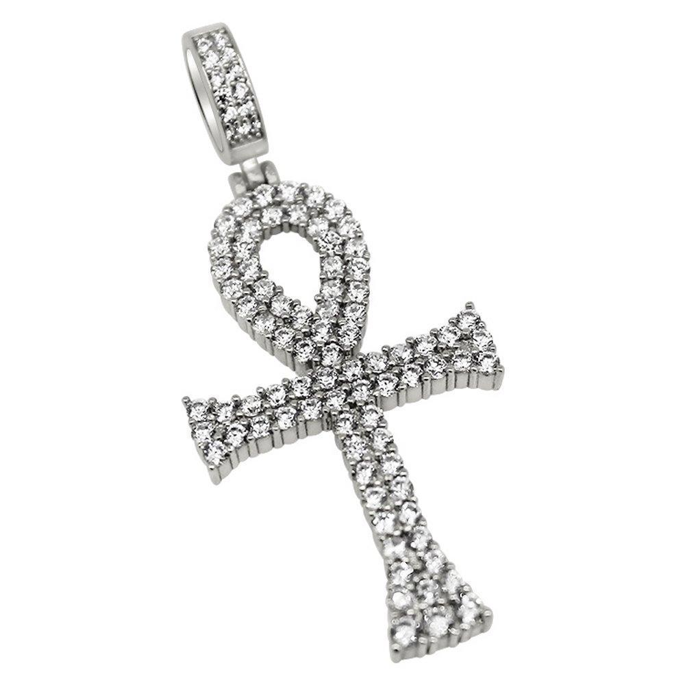 .925 Silver Bling Bling Ankh CZ Rhodium Cross
