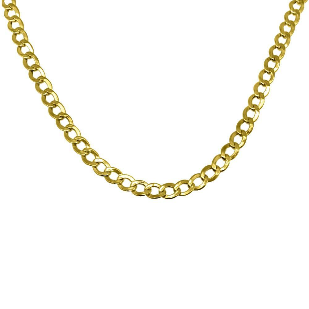 10K Yellow Gold 4MM Diamond Cut Cuban Chain