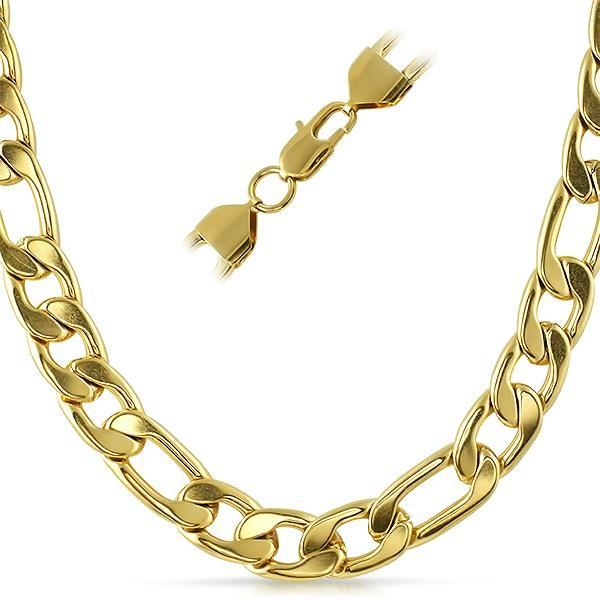 Figaro IP Gold Stainless Steel Chain Necklace  12MM