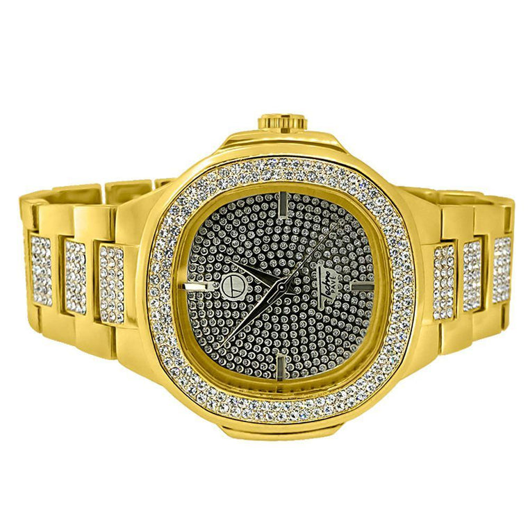 Gold Bling Bling Watch & Bracelet Set Modern Style