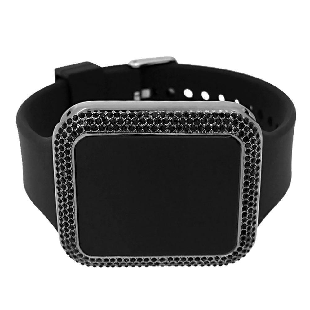 Bling Bling All Black Rectangle LED Touch Screen Watch