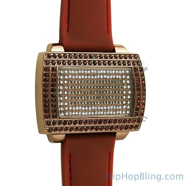 LED Digital Block Face All Brown Watch