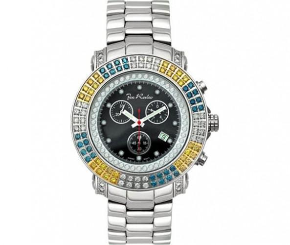 Blue Yellow & White Double Diamond 4.30ct Bezel Joe Rodeo Watch