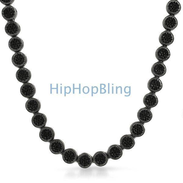 Black Pave Circle Link Bling Bling Chain