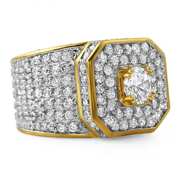 Gold .925 Silver Presidential Bling Bling CZ Ring