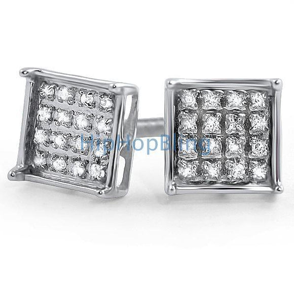 .10ct Diamond Box Micro Pave Earrings .925 Silver