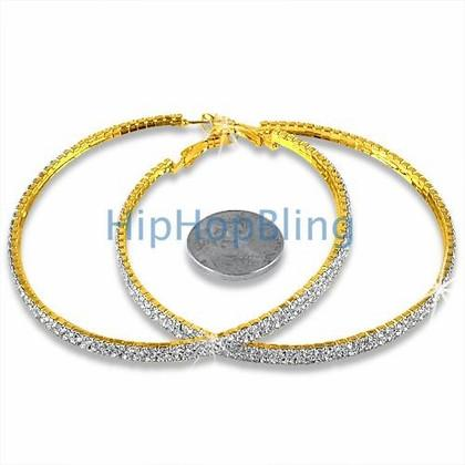 70mm 2 Row Gold Hoop Bling Bling Earrings