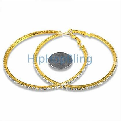 70mm Gold Hoop Bling Bling Earrings