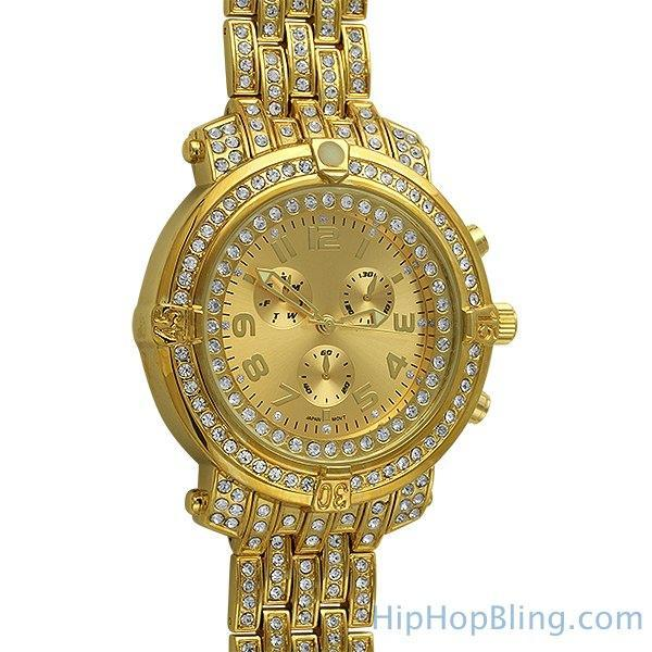 Gold Custom Sport Bling Bling Watch