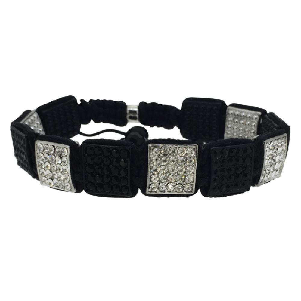 Black  Rhodium Square Link Rope Bracelet