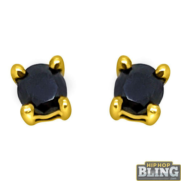 .25 Carat Black Diamond Stud Earrings Gold .925