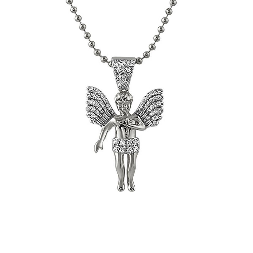 Big Wings Rhodium Mini Angel Pendant
