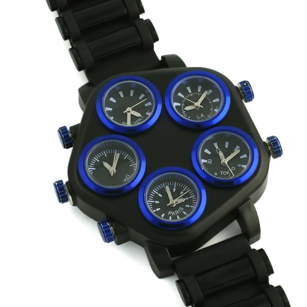 All Working 5 Timezone Watch Blue & Black