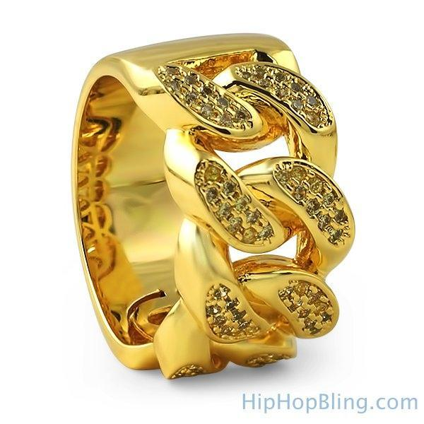 Lemonade Gold Cuban Link CZ Ring