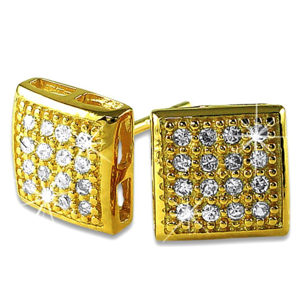 32 Stones Puffed Box Gold Vermeil CZ Micro Pave Earrings .925 Silver
