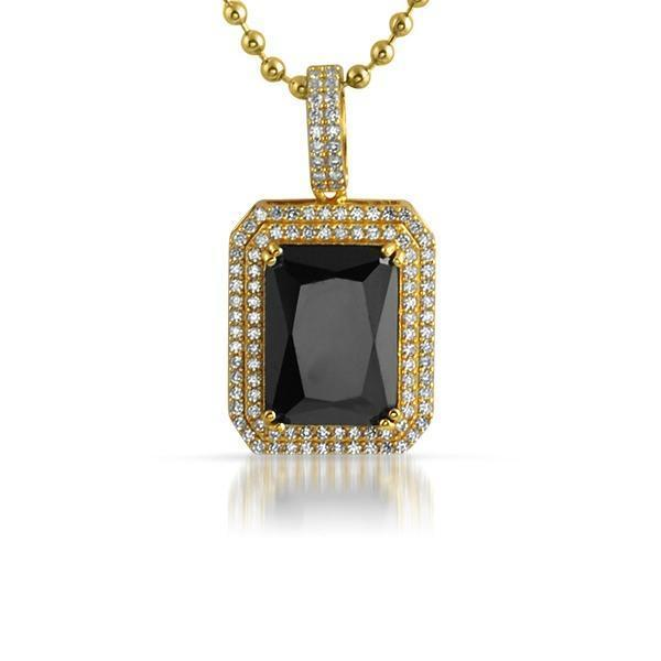 .925 Silver Double Bling Pendant Black Gem