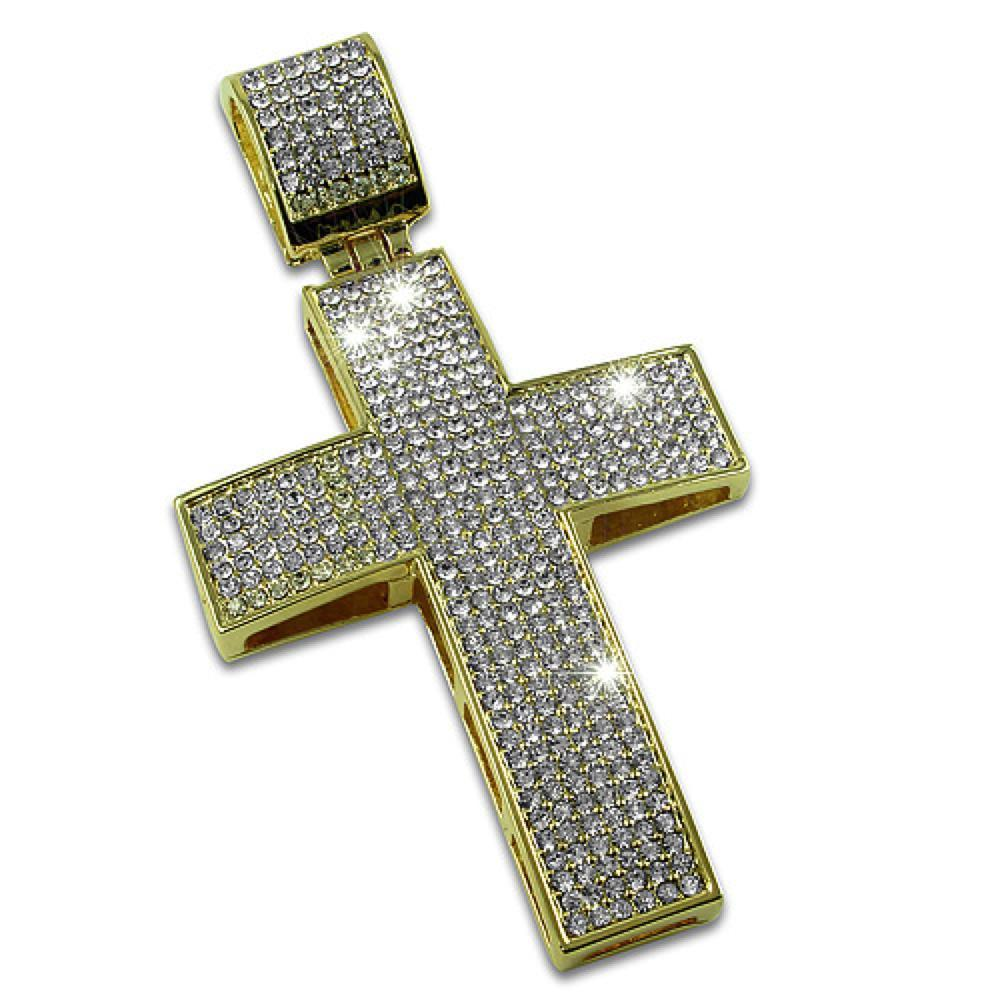 Gold Blizzard Iced Out Cross