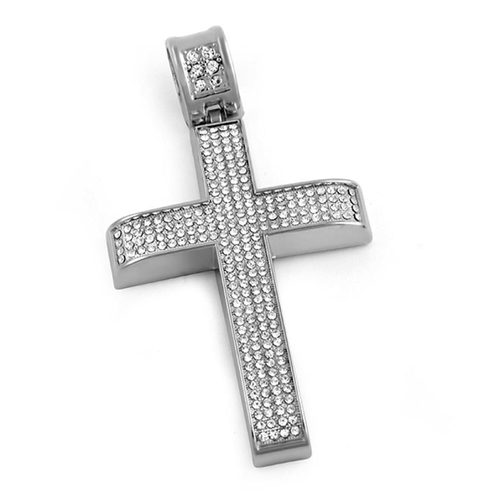 4 Row Bar Rhodium Cross