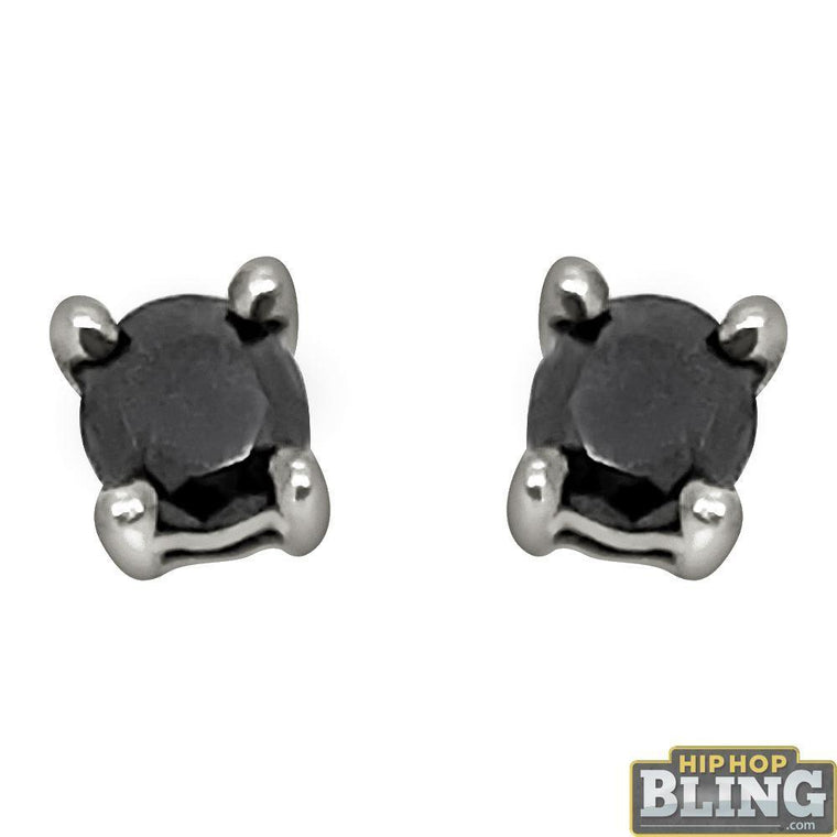 .25 Carat Black Diamond Stud Earrings .925
