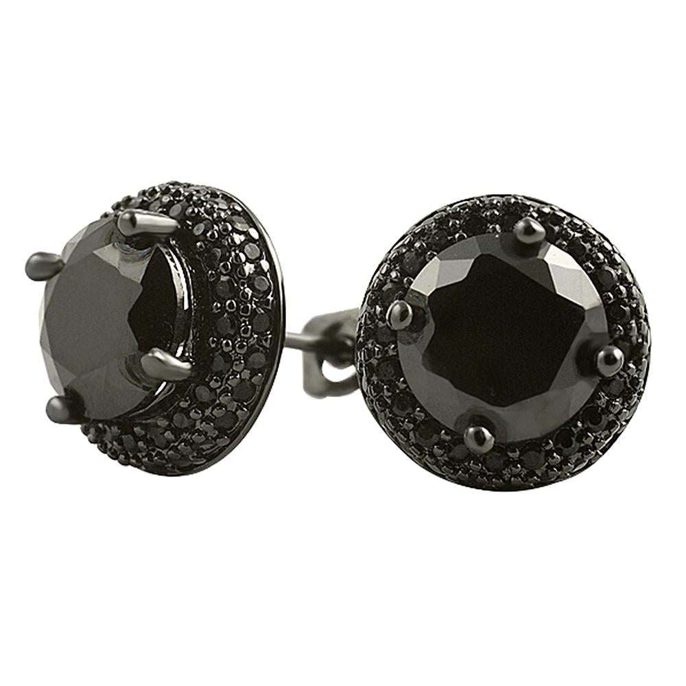 Black Solitaire Center Micro Pave Border CZ Earrings