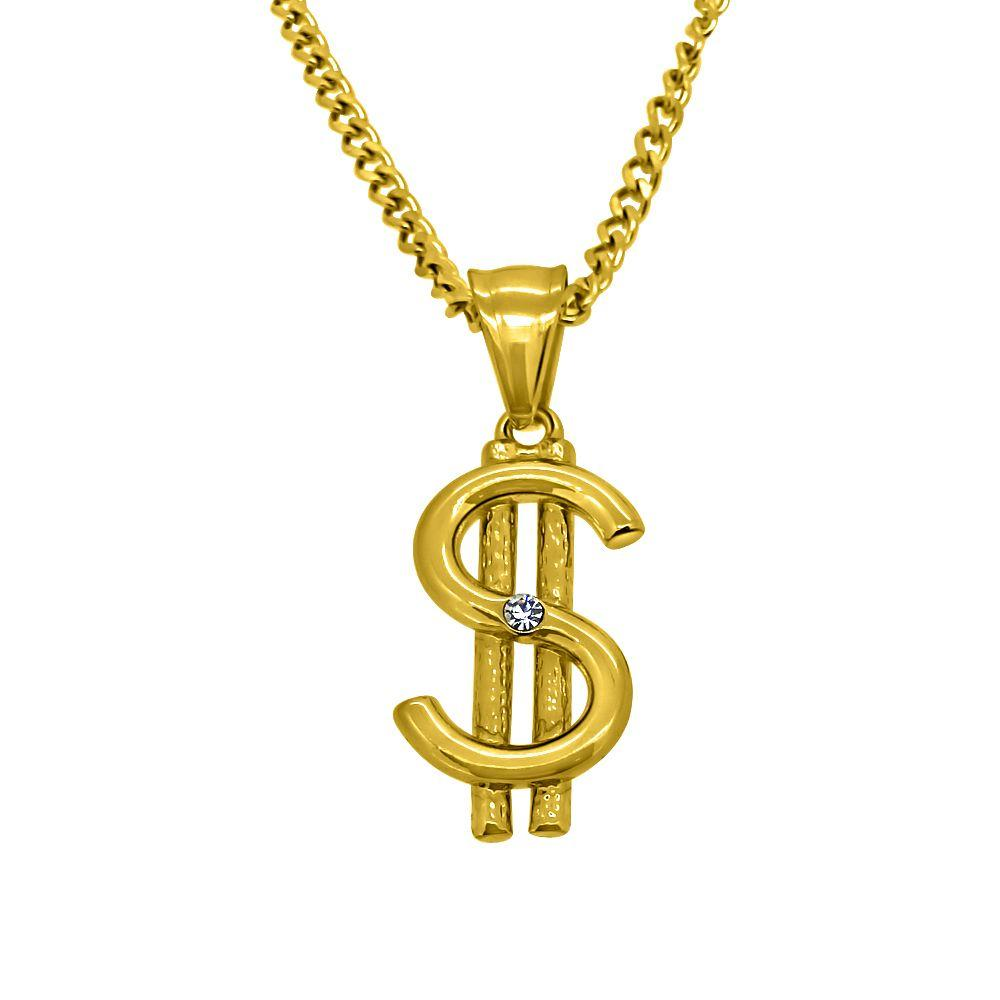 Gold Micro Dollar Sign Hip Hop Pendant