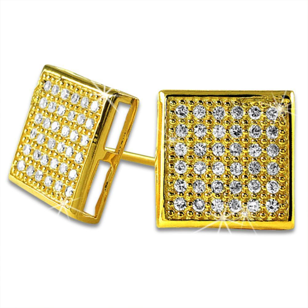 Large Box Vermeil CZ Bling Bling Micro Pave Earrings .925 Silver